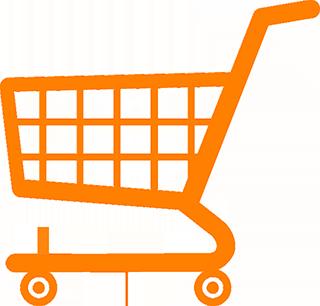 orange kundvagnssymbol